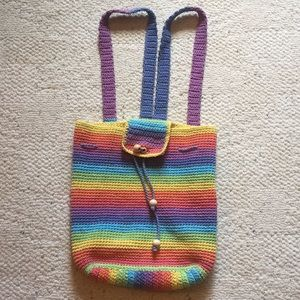 Awesome rainbow crochet backpack.